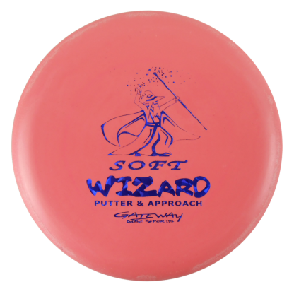 Gateway Wizard Soft pink/red wizard with blue stamp.