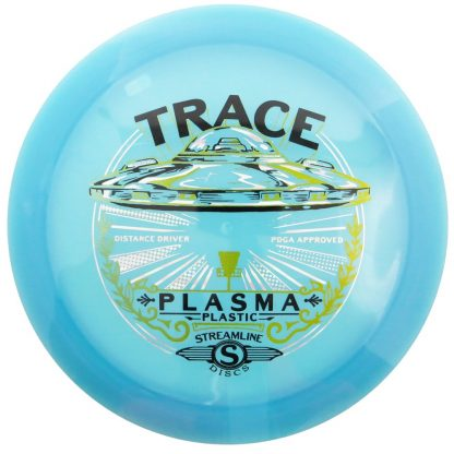 The Streamline Trace in blue Plasma plastic with a triple foil stamp.