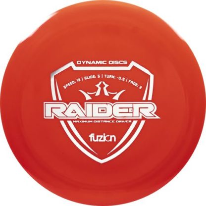 Dynamic Discs Fusion Raider in red Fusion plastic with white stamp.