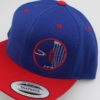 Flatbill Snapback Hat - Circle Chain Design - royal-blue - red - red - white - silver