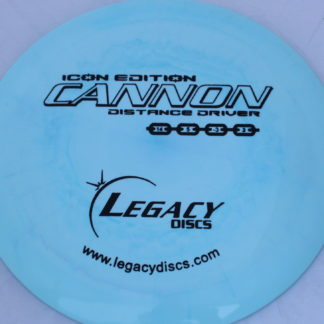 Legacy Swirly Cannon in Icon plastic nlue with black stamp.