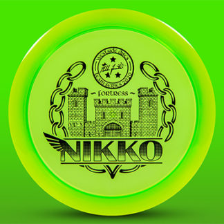 The Westside Discs Nikko VIP-X Fortress in green with black stamp and black background.