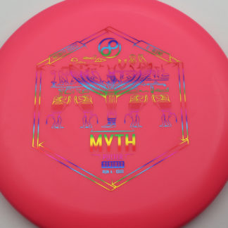 Infinite Discs Myth in red/pink plastic with rainbow foil.
