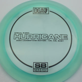 DGA Ledgestone Ice Blend Hurricane in teal plastic with black stamp.