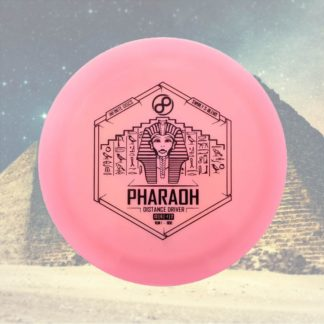 The Infinite Discs Pharaoh in pink against a pyramid background.