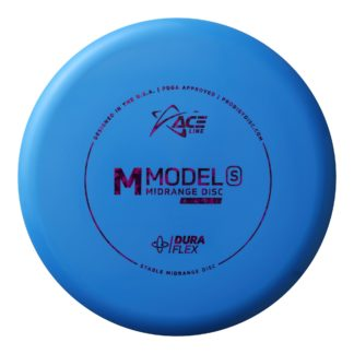 The M Model S from the Ace Line by Prodigy Discs in blue plastic.