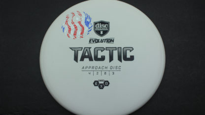 The Nate Perkins Owl Tactic from Discmania in white with black stock stamp and flag mini stamp.