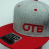Flatbill Snapback Hat - heather-grey - red - red