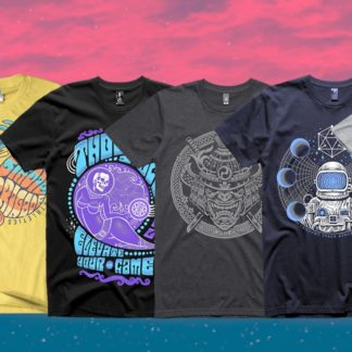 Thought Space Athletics Shirt. Ronin, Odyssey, Eyerachnid, Birdie Brigade, Elevate Your Game, Astral Expansion.