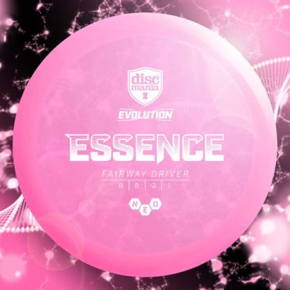 The Discmania Essence in pink Neo plastic. The Neo Instinct is a long understable fairway driver in the evolution line.