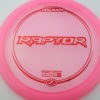 Raptor - pink - z-line - red-mini-dots-and-stars - 304 - 170-172g - 172-5g - somewhat-flat - pretty-stiff
